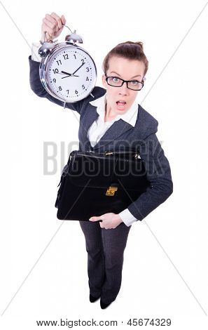 Funny woman with clock on white