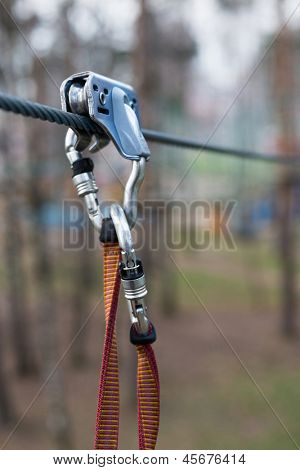 safety tether springhook and safety rope part of climbing equipment
