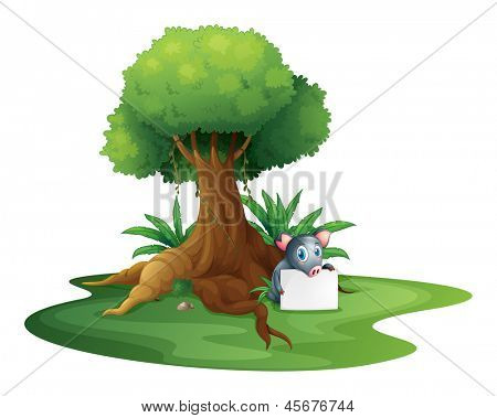 Illustration of a pig holding a signage under the tree on a white background