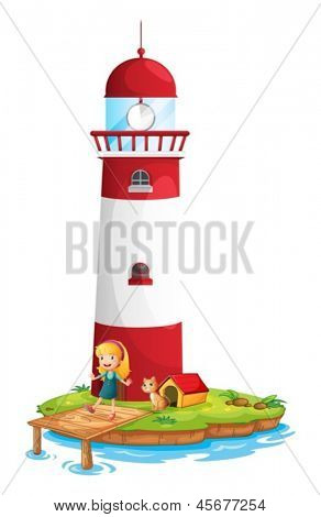 Illustration of a girl and her cat near the tower on a white background