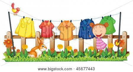 Illustration of a little girl in the garden with hanging clothes on a white background