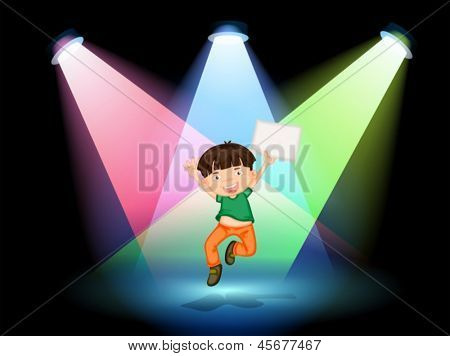 Illustration of a young boy at the stage holding an empty paper
