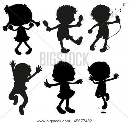 Illustration of the images of kids in black and gray colors on a white background