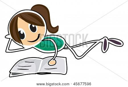 Illustration of a girl lying down while reading on a white background