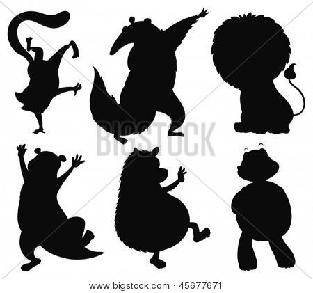 Illustration of the six different animals in black color on a white background