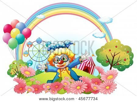Illustration of a clown in the garden at the hill on a white background