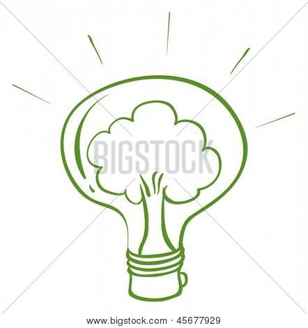 Illustration of a light bulb with a tree inside on a white background