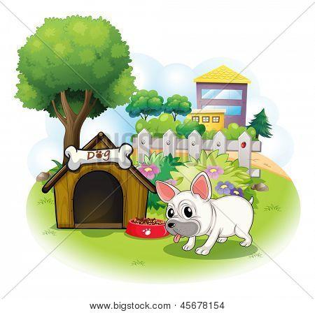 Ilustração de um cão e sua casa de cachorro para dentro da cerca em um fundo branco
