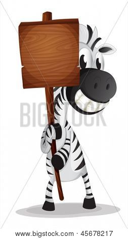 Illustration of a zebra holding an empty wooden signboard on a white background