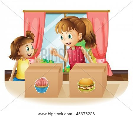 Illustration of a woman and a young girl near the two boxes on a white background