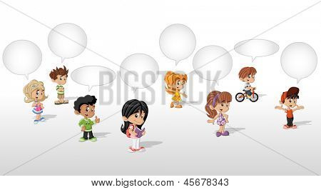 Cartoon children talking with speech balloon