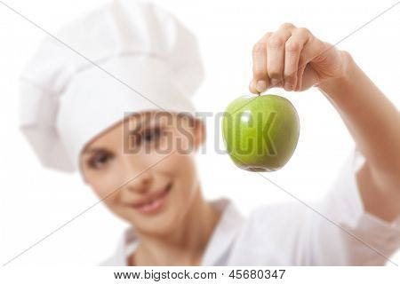 Smiling woman cook with apple, isoladed on white background