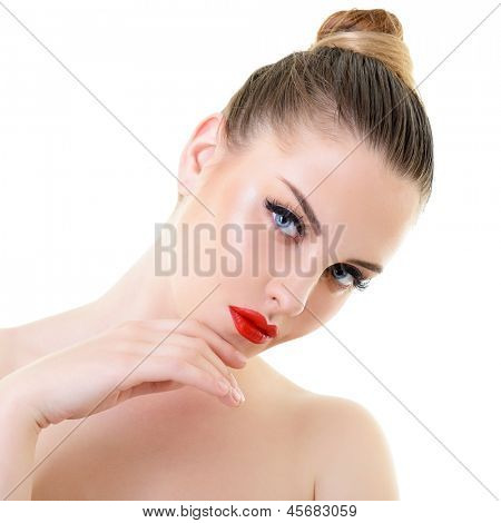 beauty woman, portrait of girl holding hand near her face with beautiful makeup, isolated on white background