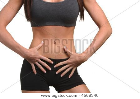 Woman With Hands On Abs
