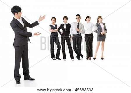 Asian business man introduced his team people.