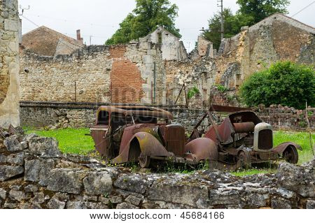 Destroyed car of doctor in Oradour sur Glane in the French Limousin