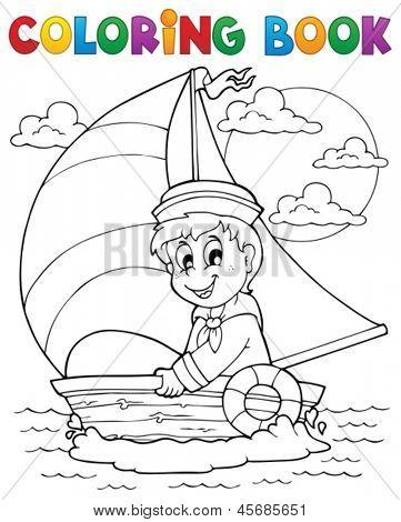Coloring book sailor theme 1 - eps10 vector illustration.