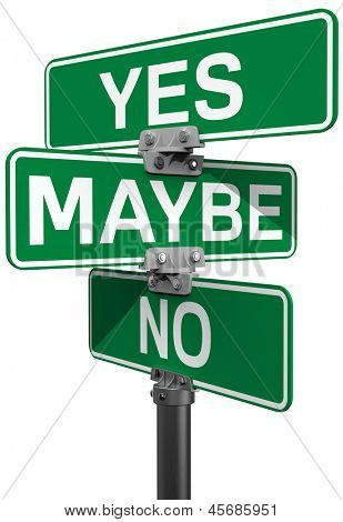 Street signs to make your choice between No Maybe or Yes decision