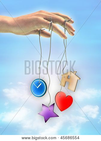 Hand with strings tied to its fingers. The strings end with icons representing different life aspects. Digital illustration.