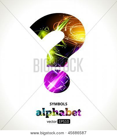 Vector Customizable Light Effect Alphabet. Design Abstract Symbol ?. Question Mark