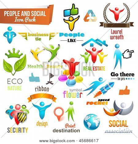 People Social Community 3d icon and Symbol Pack. Vector design elements. Change color of icons in accordance to your logo. Vol. 3