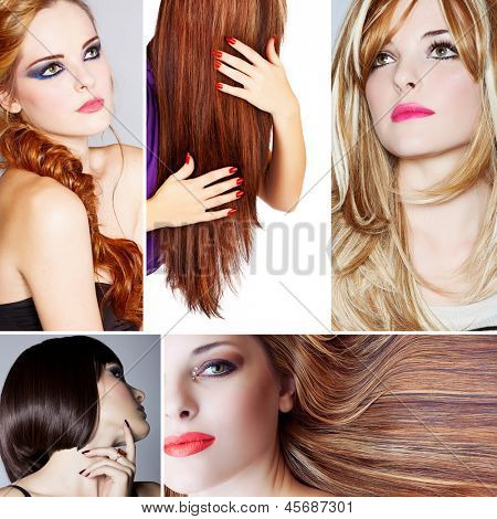 collage of beautiful young woman photos with different hairstyles from long blond hair to short on studio background