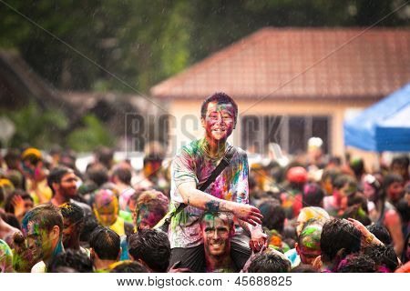 KUALA LUMPUR, MALAYSIA - MAR 31: People celebrated Holi Festival of Colors, Mar 31, 2013 in Kuala Lumpur, Malaysia. Holi, marks the arrival of spring, being one of the biggest festivals in Asia.