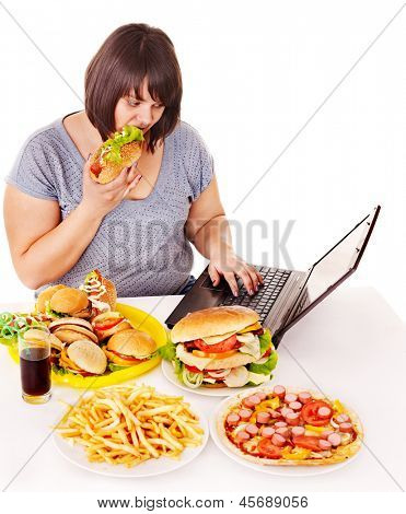 Woman eating fast food at social network. Isolated.
