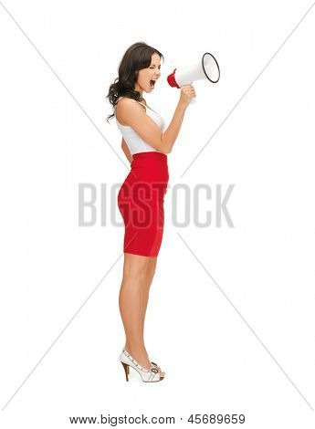 picture of strict woman shouting in megaphone
