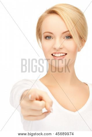picture of attractive businesswoman pointing her finger at you
