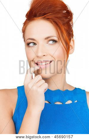 bright picture of thoughtful woman holding finger in her mouth