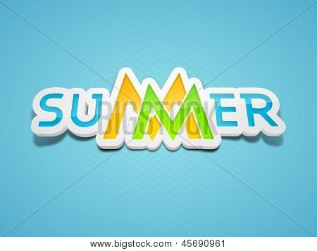 Colorful text Summer on blue background.