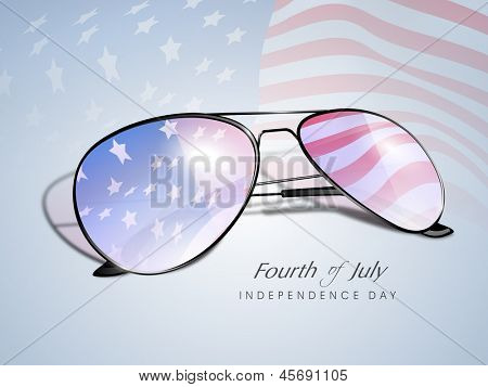 Waving American Flag reflecting in a sun glasses, Fourth of July independence Day concept.
