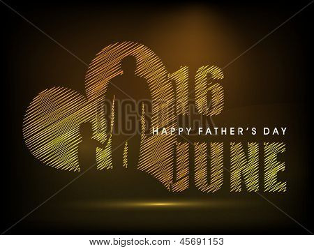 Happy Fathers Day concept for flyer, banner or poster with image of a father holding his child hand and text 16th June on brown background.