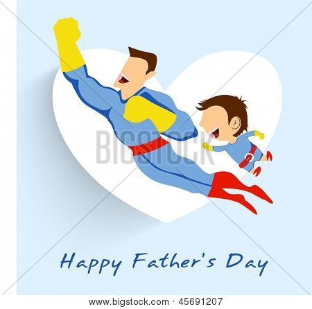 Superhero father and son flying up on white heart shape blue background for Happy Fathers Day.