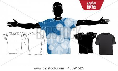 T-shirt. Men body silhouette. Vector