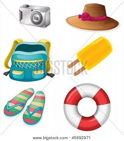 Illustration of the different things ideal for summer outings on a white background