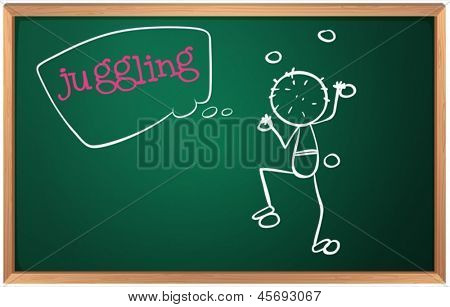 Illustration of a blackboard with a boy juggling on a white background