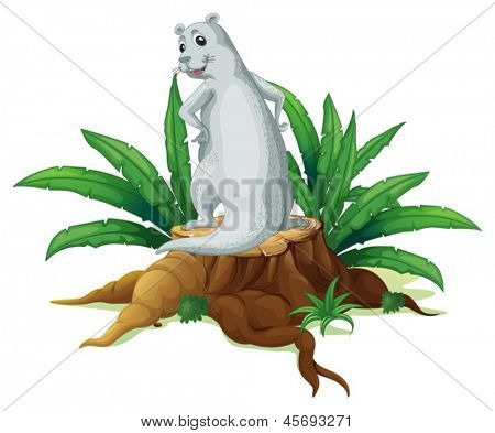 Illustration of a backview of the sealion above the stump on a white background