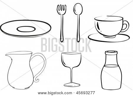 Illustration of the silhouettes of tablewares on a white background