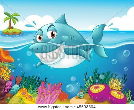 Illustration of a shark in the sea with corals