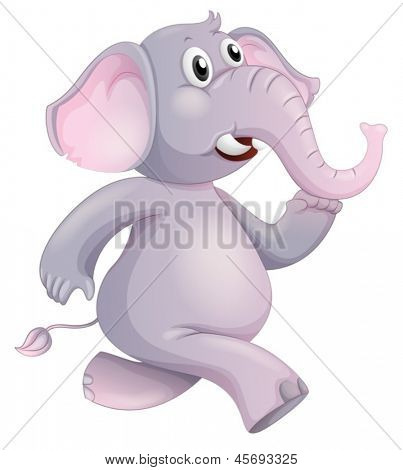 Illustration of a running elephant on a white background