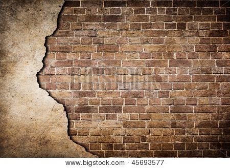 old brick wall partially damaged