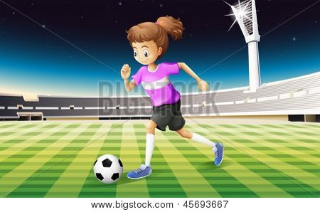 Illustration of a girl at the field playing football