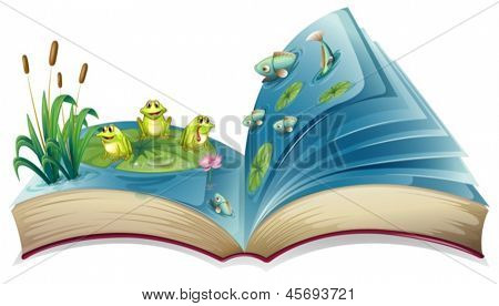 Illustration of a book with an image of the frogs and fishes in the pond  on a white background