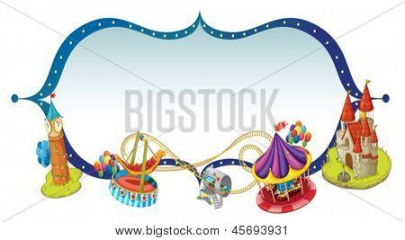 Illustration of a unique border design with castle and rides on a white background