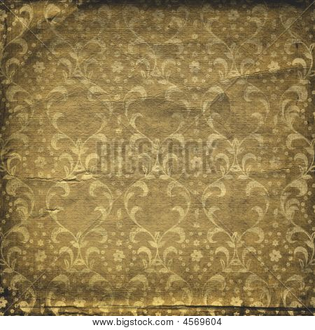 Grunge Brown Background With Ancient Ornament