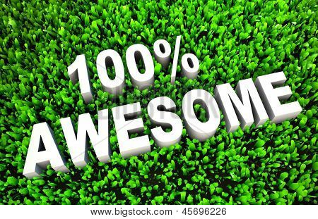 100% Awesome Sign on Rendered Grass in 3D