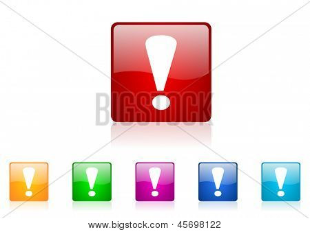 exclamation sign square web glossy icons set