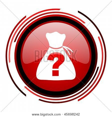 riddle red circle web glossy icon on white background